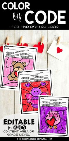 Valentine's Day Activities for kids! Valentine's Day Color by number, color by word, color by.YOU CHOOSE! It's EDITABLE! Coloring pages are fun for every grade! School Holiday Activities, Valentines Day Activities, Winter Activities, Speech Activities, Classroom Activities, Spelling Words, Sight Words, Sight Word Coloring, Valentines Day Coloring Page