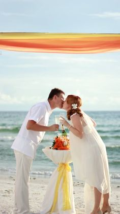 Champagne toast for married couple in Florida. Siesta beach.