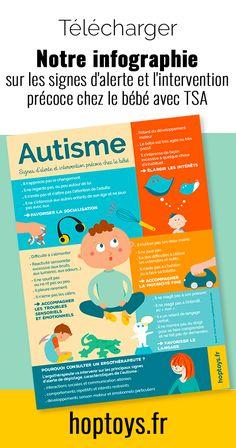 L'intervention précoce dans la prise en charge de l'autisme est essentielle. Quels sont les signes d'alerte de l'autisme chez les tout-petits ? Qu'est-ce que l'intervention précoce en ergothérapie ? Quelles activités proposer aux bébés ? Flora, ergothérapeute spécialisée dans l'accompagnement des enfants avec des troubles du spectre autistiques nous explique tout cela dans cet article. Trouble, Signs, Acting, Warning Signs, Infographic, Tools, Children, Psychology, Shop Signs