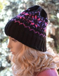 Black and purple /pink  cap / hat lovely warm by DosiakStyle