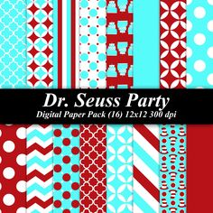 BUY 2 GET 1 FREE - Dr. Seuss Party Paper Pack (16) 12x12 sheets 300 dpi scrapbooking invitation birthday. $4.00, via Etsy.