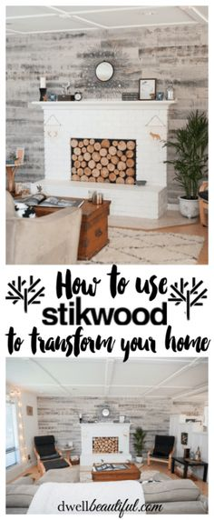 See how you can transform your home from drab to fab with the use of Stikwood! Get the look of real pallet wood (beacause it is real wood) and simply peel and stick the planks to create a gorgeous accent design! Beautiful in a bedroom, nursery, or living Accent Walls In Living Room, Living Room Decor, Unique Home Decor, Home Decor Items, Pallet Accent Wall, Stick On Wood Wall, Plank Walls, Wood Walls, Fireplace Wall