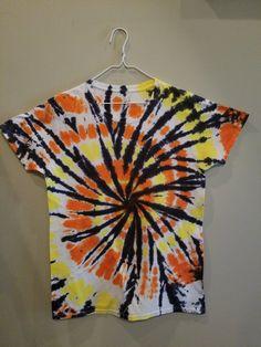 Items similar to Small Halloween orange black tie dye tshirt women/men S tie dye shirt hurricane design on Etsy Black Tie Dye Shirt, Tie Dye Shirts, Bleach Tie Dye, Tye Dye, T Shirt Designs, Tie Dye Crafts, How To Tie Dye, Spiral Pattern, Tie Dye Patterns