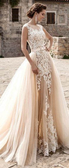 Glamorous Tulle Jewel Neckline See-through 2 in 1 Wedding Dress With Lace Appliques & Bowknot
