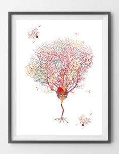 Purkinje Cells print brain cells watercolor print Purkinje
