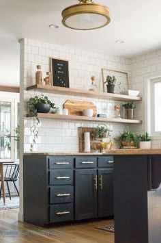 How I Cut Corners with the Kitchen Shelving Modern Decoration modern kitchen wall decor Decorating Above Kitchen Cabinets, Paint For Kitchen Walls, Wood Kitchen Cabinets, Kitchen Shelves, Dark Cabinets, Kitchen Backsplash, Kitchen Countertops, Backsplash Ideas, Floors Kitchen