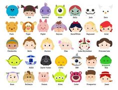 DISNEY TSUM TSUM. 65 Images at 300dpi Resolution by Bee3Shop