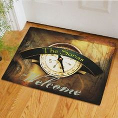 """Compass Doormat by GiftsForYouNow.com. $24.98. Personalized Compass Doormat - Custom Welcome Door Mat Welcome family & friends to your beautiful home with this distinctive Personalized Compass Doormat. Everyone who arrives at your front door will know they have followed the correct path to a gathering of fine cuisine & fascinating conversation. Please choose between two great sizes 18"""" x 24"""" or 24"""" x 36"""". Both are safe for outdoor or indoor door mat use. Each Pers..."""