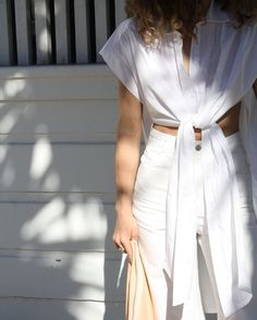 White on white denim and front-tie top