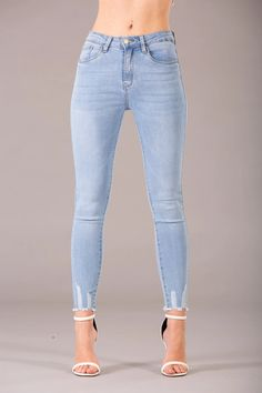 Denim Day Light Blue Jeans with Frayed Hem – Lusty Chic Light Blue Jeans, Ripped Skinny Jeans, Stretch Fabric, Touch, Legs, Denim, Chic, Pants, Fashion