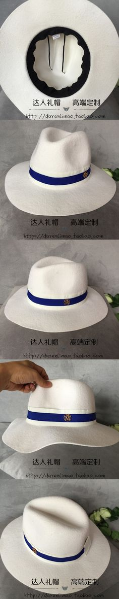 2017 Europe and America brand d hat Sir Mo female elegant aristocratic hat white double color ribbon double black metal logo