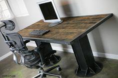 Modern Industrial DeskTable. Vintage style. Reclaimed door leecowen