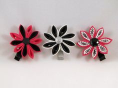 Kanzashi flower set of three hair clip accessory hot by RaggedyRAD, $10.00