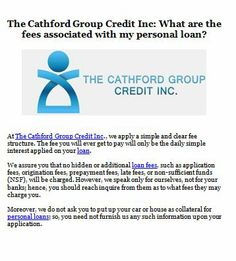 The Cathford Group Credit Inc: What are the fees associated with my personal loan? https://thecathfordgroup.jux.com/3340032