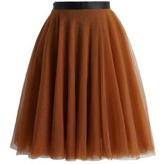 Chicwish Amore Mesh Tulle Skirt in Amber ($51) ❤ liked on Polyvore featuring skirts, chicwish, brown, ballet skirt, tulle ballerina skirt, knee length tulle skirt, tulle ballet skirt and brown layered skirt