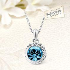 Elegáns akvamarin kék Swarovski kristályos nyaklánc SWN-T4-B10575 Washer Necklace, Jewelery, Swarovski, Jewlery, Jewels, Jewerly, Schmuck, Jewelry, Jewelry Shop