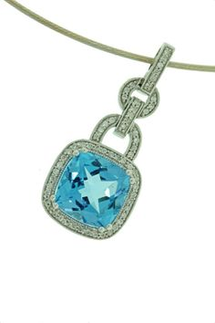 Topaz and diamond white gold pendant - Brisbane Jeweller - Coloured Gems - MONTASH Jewellery Design - www.montash.com.au