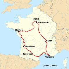 Tour de France 1904 map- This Day in History: Jul 1,1903: Start of first Tour de France bicycle race.
