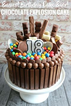 How to make a Chocolate Explosion Cake. It looks amazing (and yummy) and is so easy to make! This is a chocolate lover, chocoholics dream cake! Perfect for birthdays and other celebrations! # Birthdays How To Make A Chocolate Explosion Cake Birthday Cake For Him, Birthday Cakes For Women, Birthday Cupcakes, Birthday Desserts, Birthday Ideas, Simple Birthday Cakes, Party Desserts, 16th Birthday, Birthday Table