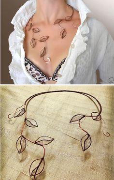 Necklace foliage Jewelry copper jewelry silver by AlenaStavtseva