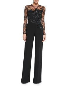 Elie Saab Long-Sleeve Embroidered Lace Jumpsuit