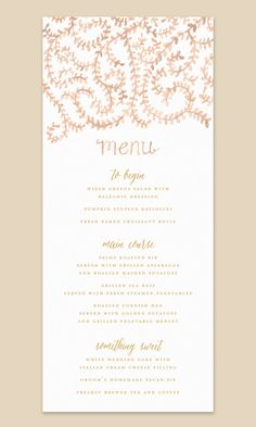 Pretty Menu Card with Handpainted Watercolor by Leveret Paperie