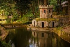 Ancient ducks house in the park of Pena Palace in Sintra, Portugal  UNESCO World Heritage Site and one of the Seven Wonders of Portugal