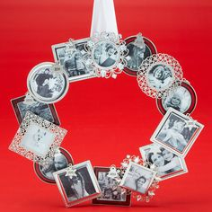 Share your holiday memories on a DIY unique ornament frame wreath.