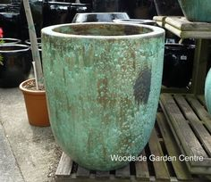 Extra Large Tall Opal Green Glazed Pot Planters   Woodside Garden Centre   Pots to Inspire