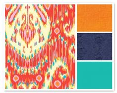Persimmon front, orange accent, blue back, teal accent.