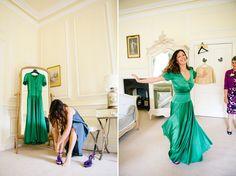 green vintage christian dior wedding dress | Eshott hall | Vanessa Adams