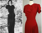 Cerise Siren Dress • 1940s Full Length Ruched Gown
