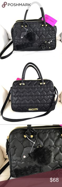 BETSEY Johnson Black Heart Toaster Bag 🖤 Brand new, with tags. Measures approximately 9 1/2 inches wide, 13 inches long, 5 1/2 inches deep. With detachable strap. Very light. With its own removable pom-pom! Betsey Johnson Bags