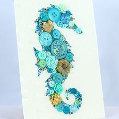 Button Art - Teal Seahorse.   Vintage buttons and Swarovski rhinestones art by PaintedWithButtons