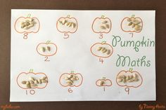 A seasonal inspired counting activity. Use pumpkins seeds to help children practice counting and number recognition. Counting Activities, Number Recognition, Maths, Halloween Crafts, Pumpkins, Seeds, Seasons, Inspired, Children
