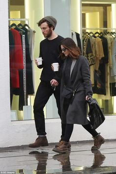 Jenna Coleman and Tom Hughes out and about in London. February 1, 2017.