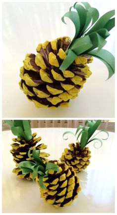 While I do think this is a totally cute kids craft. I also think that painted gold with a textured paper (I don't care what just not construction) could make for cute decoration. Pinecone Pineapple – Tiffanys Tidings