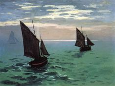 """""""Fishing Boats at Sea"""" by Claude Monet, Completion Date: 1868, Style: Impressionism."""