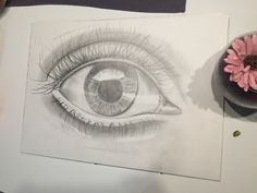 Eye made by regular pencil and coal pencil
