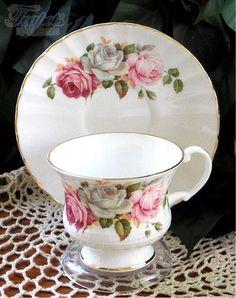 Heirloom Summer Bloom Vintage Bone China Tea Cup & Saucer #pinkrosechina