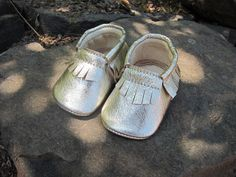 Soft Sole Baby Shoes Moccasins in Metallic Light Gold Leather, $40