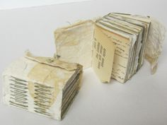..      Pair of miniature longstitch books with buttoned fore-edge flaps. 2011 (Advanced Book Arts)  The paper inside these books includes pages from discarded library books, old letters and lists, scraps of handmade paper, technical manuals, and various other random bits and pieces. It was made for a project in which  each student received an envelope of paper scraps to use in any way  desired.