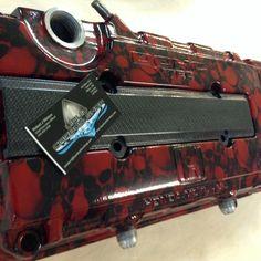 Honda Valve cover by Liquid Carbon Shop Ontario Canada original hydrographic print shop