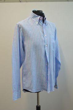 Camicia-lino-uomo-Luca-DAltieri-collo-39-15-1-2-azzurra-righe-viola