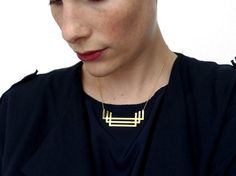 BERTHE_Geometric Art Deco style brass necklace