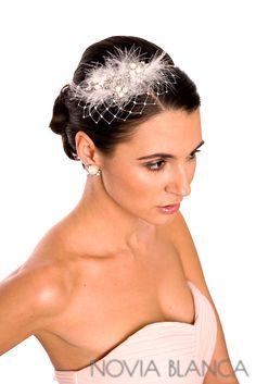 bridal headpiece and earrings biżuteria ślubna www.novia-blanca.pl