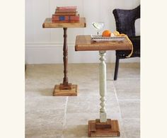 Tables from bread board and baluster and block wood