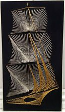 Large VTG 60s 70s Retro Sailing Ship String Art Picture Silver & Gold