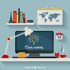 Designer's office flat illustration http://www.freepik.com/free-vector/designer-s-office-flat-illustration_715197.htm