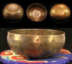 Tibetan Singing Bowl Hand Carved 12.5  cm